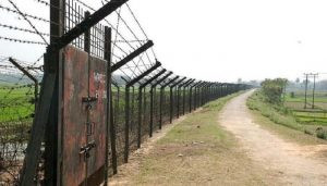 Laid barbed wire in the border area with India