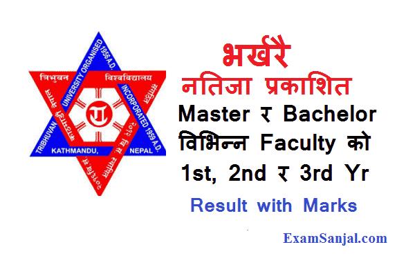 TU Result Published Master & Bachelor Level 1st 2nd 3rd year